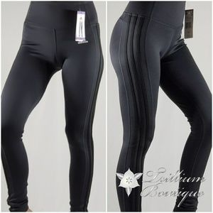 NWT! Adidas Ladies 3 Stripe Tights - Carbon/Black